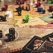 """Dettaglio del tabellone di gioco durante una partita de """"La Baruffa Veneta"""", gioco di strategia basato sulla regione Veneto."""