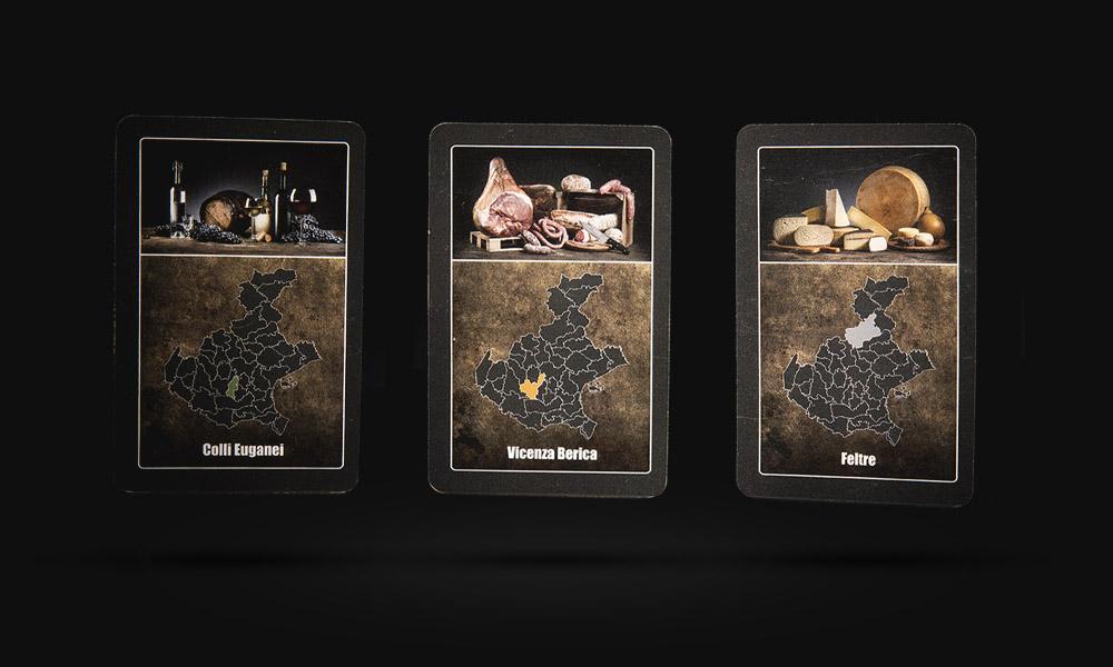 Le tre tipologie di Carte Possedimento de La Baruffa Veneta il gioco da tavolo di strategia basato sulla regione Veneto. Carta eccellenze vinicole, salumi e formaggio.