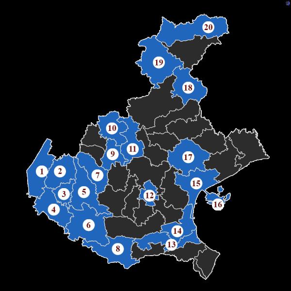 """La Baruffa Veneta, gioco di strategia basato sulla Regione Veneto. Nella modalità di gioco con le """"Carte Eccellenza"""", ogni carta rappresenta l'obiettivo da raggiungere. Nella carta """"Il buongustaio"""", l'immagine rappresenta la cartina della regione Veneto, suddivisa nei diversi possedimenti. Quelli evidenziati in blu chiaro, numerati da 1 a 20, sono i territori da conquistare."""