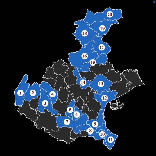 """La Baruffa Veneta, gioco di strategia basato sulla Regione Veneto. Nella modalità di gioco con le """"Carte Eccellenza"""", ogni carta rappresenta l'obiettivo da raggiungere. Nella carta """"Il nostro verde"""", l'immagine rappresenta la cartina della regione Veneto, suddivisa nei diversi possedimenti. Quelli evidenziati in blu chiaro, numerati da 1 a 20, sono i territori da conquistare."""