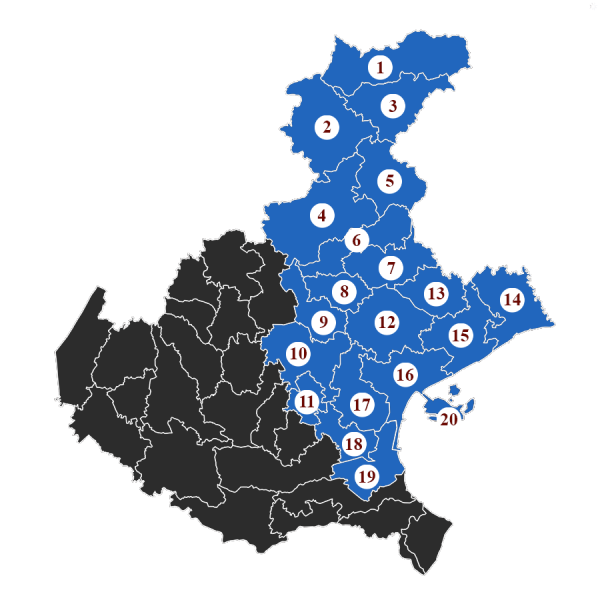 """La Baruffa Veneta, gioco di strategia basato sulla Regione Veneto. Nella modalità di gioco con le """"Carte Eccellenza"""", ogni carta rappresenta l'obiettivo da raggiungere. Nella carta """"Il popolo dal palato colto"""", l'immagine rappresenta la cartina della regione Veneto, suddivisa nei diversi possedimenti. Quelli evidenziati in blu chiaro, numerati da 1 a 20, sono i territori da conquistare."""