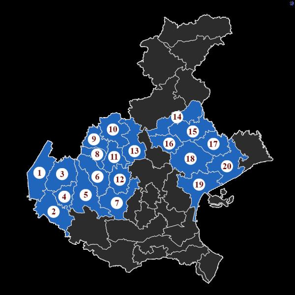 """La Baruffa Veneta, gioco di strategia basato sulla Regione Veneto. Nella modalità di gioco con le """"Carte Eccellenza"""", ogni carta rappresenta l'obiettivo da raggiungere. Nella carta """"Il popolo dal palato goloso"""", l'immagine rappresenta la cartina della regione Veneto, suddivisa nei diversi possedimenti. Quelli evidenziati in blu chiaro, numerati da 1 a 20, sono i territori da conquistare."""